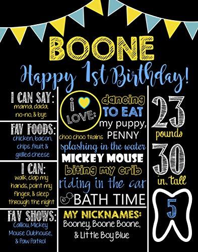 Dozili Personalized Boys Theme Birthday Chalkboard Style Metal Sign- Printable Birthday Chalkboard Style Metal Sign- Birthday Board- Personalized Custom Sign- Yellow- Blue- 1st Bday -