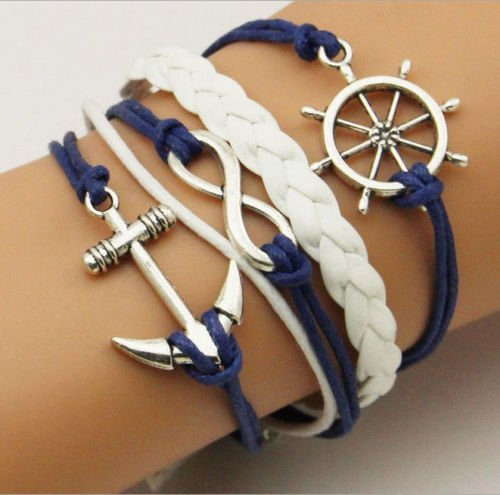 patcharin shop Hot Infinity Love Anchor Leather Cute Charm Bracelet plated Silver DIY Fashion by patcharin shop