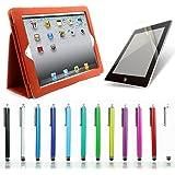 全12色 オートスリープ機能付(自動ON/OFF) iPad4/iPad3/iPad2専用レザーケース (オレンジ) タッチペン 保護フィルム3点セット