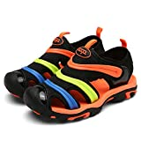 MENTAIQI Sport Anti-Slipping Kids'Sandals Closed-Toe, Breathable Quick-Drying Athletic Slipper Slip-On Shoes for Boys & Girls (Toddler/Little Kid/Big Kid) (12.5 M, Orange)