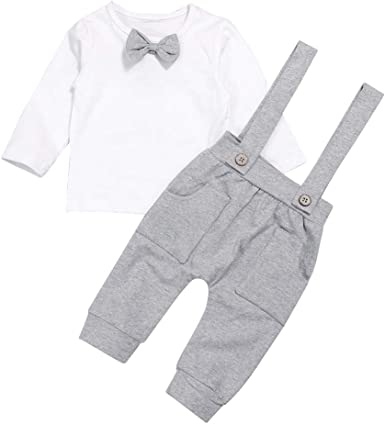 Fairy Baby 4pcs Summer Formal Boys Outfit Clothes Set Kids Tops Shirt+Suspender Shorts Set