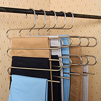 Kictero 2 Pack Pants Hangers S Type Stainless Steel Trousers Rack 5 Layers Multi