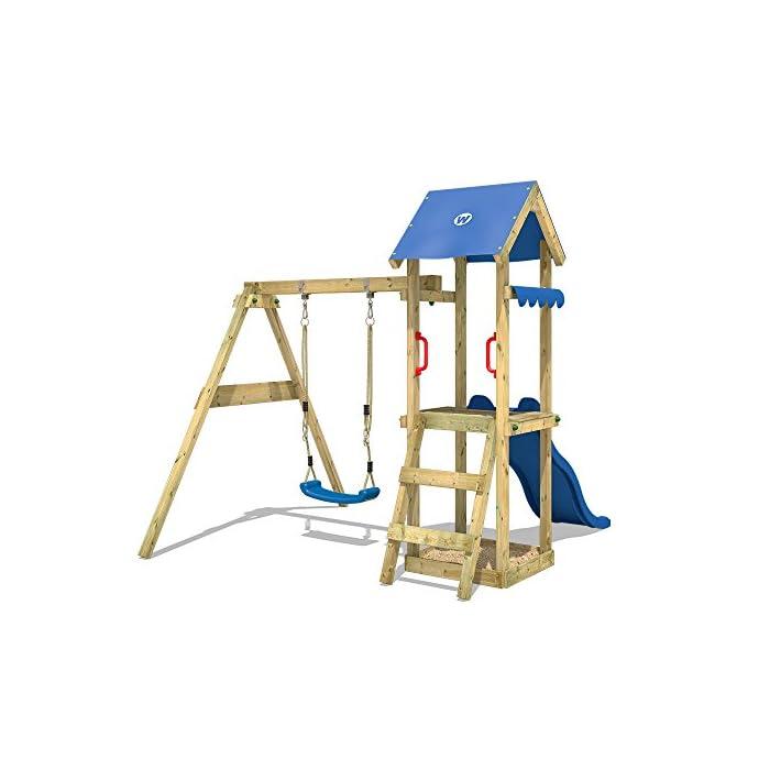 51OtiU4eRjL Juegos infantiles de madera para el jardín con tobogán y columpio - Escalera inclinada Madera maciza impregnada a presión - Poste 7x4,5cm - Poste de columpio 9x9cm - Tola Calidad y seguridad verificadas - Instrucciones de montaje detalladas - Made in Germany