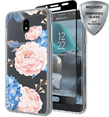 Samsung Galaxy J7 2018/J7 Aero/J7 Top/J7 Refine/J7 Eon/J7 Star/J7 Crown/J7 Aura case with Tempered Glass Screen Protector, ChangeJ Shock Absorption Slim Clear Flower case (Blue)