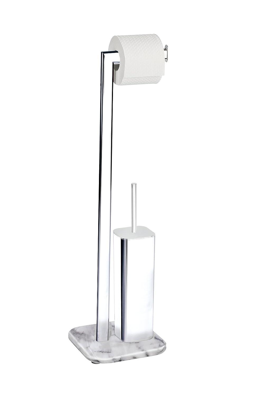Wenko Onyx Juego De Pie para El WC, Acero, Plateado, 20x22x73 cm