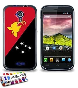 Carcasa Flexible Ultra-Slim WIKO CINK FIVE de exclusivo motivo [Bandera Papua Nueva Guinea] [Negra] de MUZZANO  + ESTILETE y PAÑO MUZZANO REGALADOS - La Protección Antigolpes ULTIMA, ELEGANTE Y DURADERA para su WIKO CINK FIVE