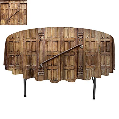 SATVSHOP Round Table-70Inch-for Birthday Party, Graduation Party.Rustic Traditional Door in Nepal with etro Carving Asian Architecture Shabby Chic Artsy -