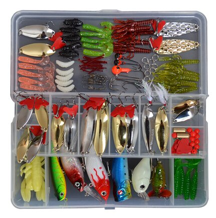 Eco-me 127 Pcs in a Set Fishing Lures Tackle Kit Bionic Minnow Jigging Soft Grub Shrimp Lure Metal Sequins Spoon Spinner Lure for Fishing Lovers (Eco Lure)