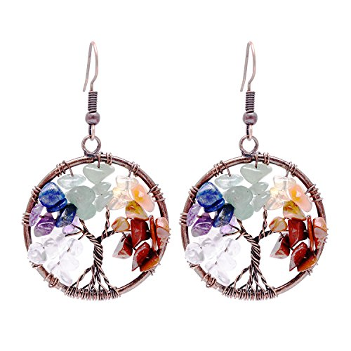Vintage Wire Wrapped Dangle Earrings Chakra Gemstone Jewelry Mothers Day Gift ()