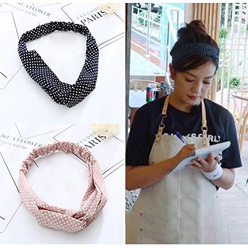 HaloVa Headbands, Elastic Cross Head Wrap Hair Bands Headwear Turban Hair Accessories for Women and Girl, Handmade Cloth Art, Black, Pink