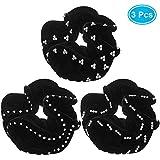 Velvet Hair Tie Faux Rhinestone Scrunchie Large Elastic Headband Plain Color Black Hair Ties for Women