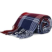 """Better Homes and Gardens 50"""" x 60"""" Acrylic Woven Americana Fringe Throw (Plaid)"""