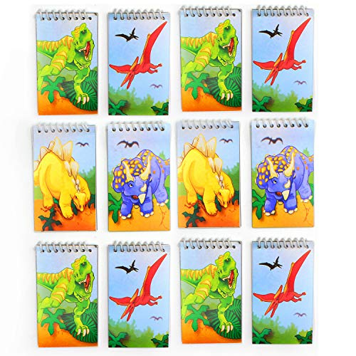 Kicko Spiral Dinosaur Notepads - Pack of 12-20 Pages Each 2.25 X 3.5 Inches, Mini Spiral Bound Notebook Memo Pad, Pocket Size - for Kids, Boys and Girls - Party Favors, Fun, Prize