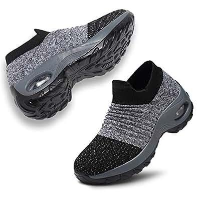 ANLUKE Women's Walking Shoes Mesh Sneakers - Slip On Air Cushion Platform Sock Shoes Sneakers 1839 Dark Grey 38