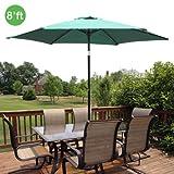 8ft Outdoor Patio Umbrella Aluminum w/ Tilt Crank – Green For Sale
