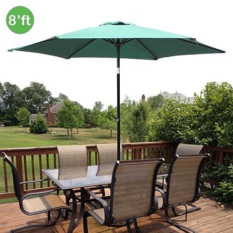 8ft Outdoor Patio Umbrella Aluminum W/ Tilt Crank   Green