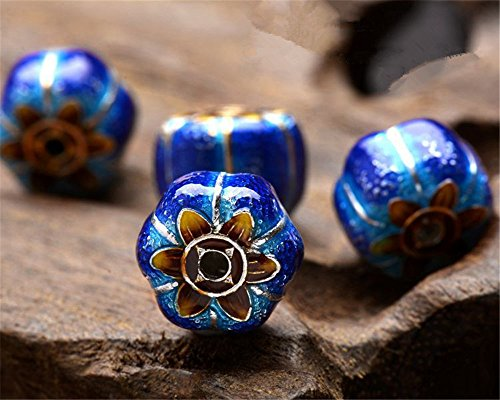 (MFMei 925 Sterling Silver Pumpkin Golden Plated Cloisonne Spacer Beads (TL072))