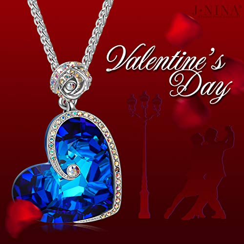 Large Product Image of J.NINA Valentines Day Jewelry Gifts Heart Swarovski Necklaces for Women Crystals Rose Sapphire Pendant for Women Anniversary Birthday Gift for Daughter Lover Niece Wife Girlfriend Sister Friend