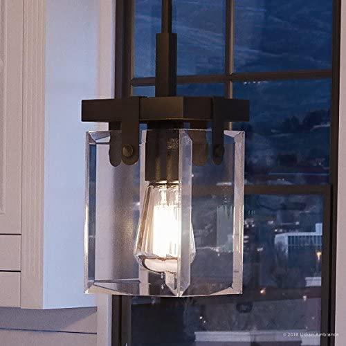 Luxury Modern Farmhouse Pendant Light, Small Size 11.875 H x 6.5 W, with Industrial Chic Style Elements, Olde Bronze Finish and Clear Shade, UHP2446 from The Bristol Collection by Urban Ambiance