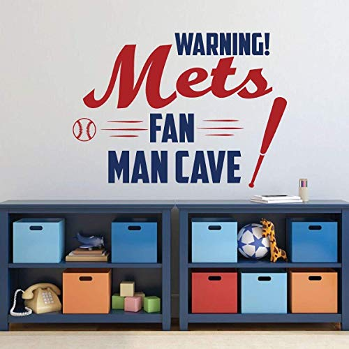 BYRON HOYLE NY Mets Wall Art - Baseball Decorations - Sports Team Athlete Bedroom Decor - Vinyl Wall Decal - MLB Wall Decals for Bedroom, ()