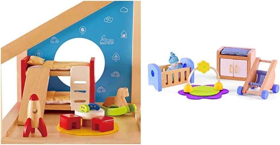 Hape Wooden Doll House Furniture Children's Room with Accessories & Wooden Doll House Furniture Baby's Room Set