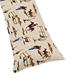 Sweet JoJo Designs Western Print Full Length Double Zippered Body Pillow Case Cover for Wild West Cowboy Collection