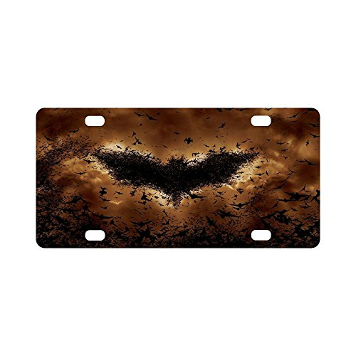 Halloween Bat swarm Pattern Classic Metal License Plate Auto Car Tag 12