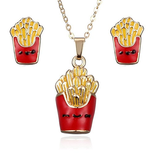 (Fashion Jewelry Set Food French Fries Necklace Earrings - Wedding Party Jewelry)