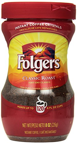 Instant Coffee Folgers - Folgers Classic Roast Instant Coffee, 8 Ounce (Pack of 3)