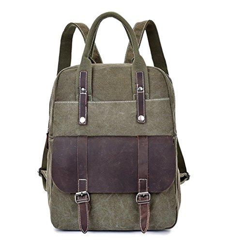 On Sale- S-ZONE Canvas Genuine Leather Travel School Bags 15.6-inch Laptop Handbag Backpack Rucksack Daypack