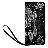 InterestPrint Women's Moon Dreamcatcher with Flowers Crystals Stars Arrows and Feathers Purse Clutch Bag Wristlet Wallet with Strap