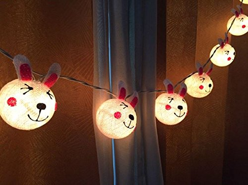 Rabbit cotton ball string lights for Christmas fairy lights, Christmas Lights, Christmas tree decor, Party by Thai Decorated