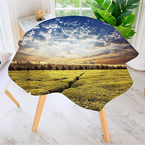 n Printed Tablecloth- Tea Plantation Modern Printed Spill Proof Cloth Round Tablecloths 43.5