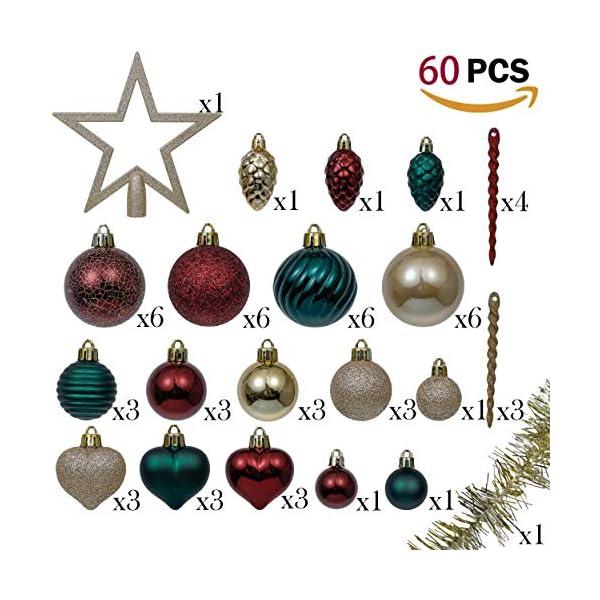 Valery Madelyn Palle di Natale 60 Pezzi di Palline di Natale, 3-5 cm di Strada di Campagna Rosso Verde e Oro Infrangibile Ornamenti di Palla di Natale Decorazione per la Decorazione 2 spesavip