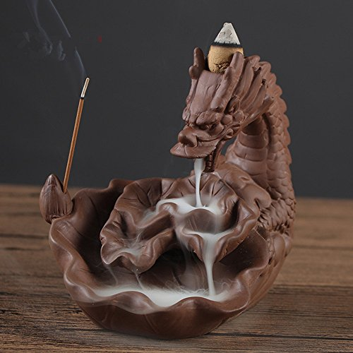 SPIE Ceramic Dragon Incense Burner for Smoke Backflow Like Water Streaming Down Art Craft Incense Cone Furnace Home Decor