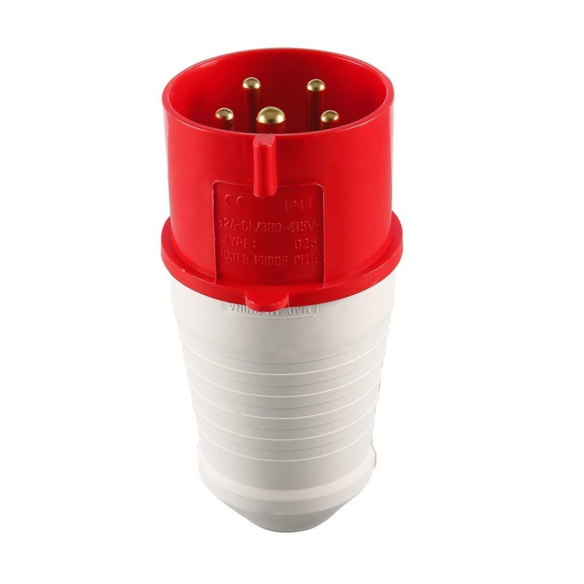 Rojo 415V 32 Amp 5pin Enchufe industrial y enchufe de pared Impermeable IP44 Enchufe Conector 3 Fase 3P Tierra Neutro Macho//Hembra fghfhfgjdfj