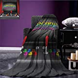 Video Games waterproof blanket Arcade Machine Retro Gaming Fun Joystick Buttons Vintage 80s 90s Electronic plush blanket Multicolor size:50''x60''