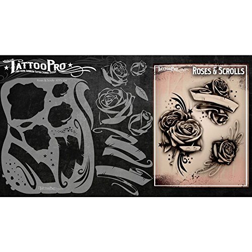 Tattoo Pro Airbrush Stencil Series 1 - Roses & Scrolls, Mylar Airbrush Tattoo Template, Reusable Face Paint Stencil