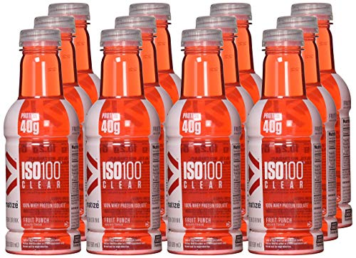Dymatize ISO-Clear 100% Whey Protein Isolate, Fruit Punch, 20 ounce, 12 Count