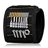 Magnetic Wristband with Super Strong Magnet, for Holding Tools Screws Nails Drill-Bits, Sibaok Convenient Unique Tool Belts Gift for DIY Handyman Worker Man, Black
