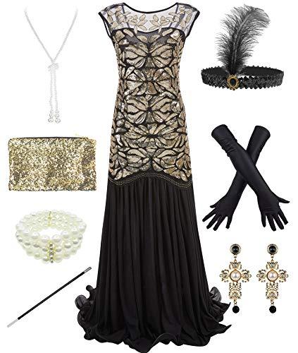 1920s Sequin Gatsby Maxi Long Evening Prom Mermaid Hem Dress w/Accessories Set (M, Gold)