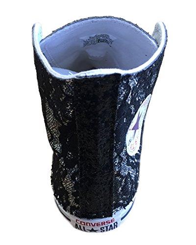 Tessuto Con Converse Star Nero E Applicazione Argento Pizzo Glitter Di All UqBXFOHB