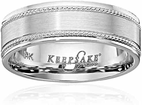 Men's Keepsake Signature 14k White Gold 7mm Double Rope Wedding Band
