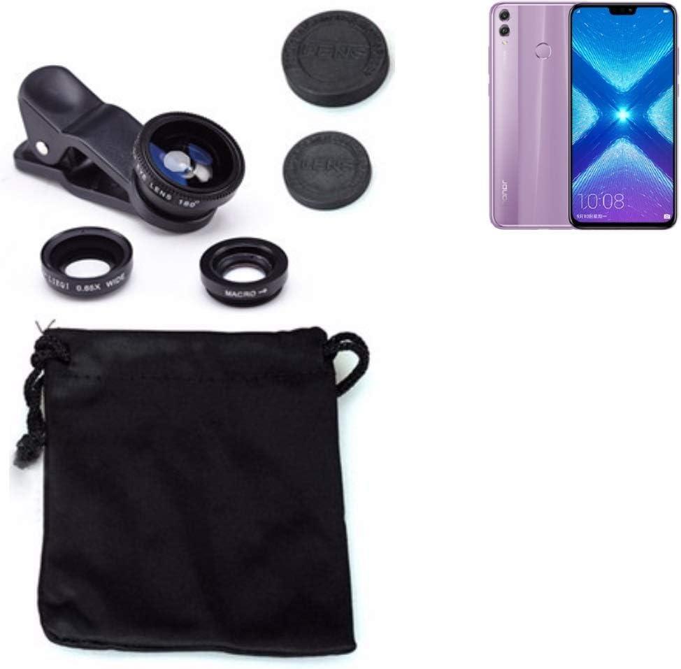 K-S-Trade 3in1 Compatible con Huawei Honor 8X Obiettivo Lente 180 ...