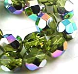25 Firepolish Czech Glass Faceted Round Beads Vitral -Olivine 6mm