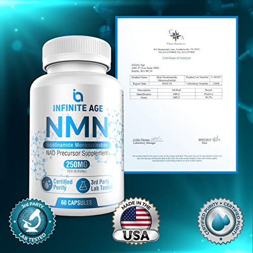 51OtmjmZxNL - Infinite Age PURE NMN (250mg) | Nicotinamide Mononucleotide Supplement | Support Optimal Brain Function| NAD Anti-Aging Support | Supports Health Energy Production I 60 Capsules
