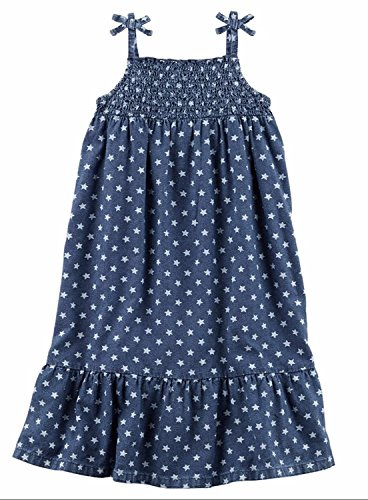 Carter's Girls Printed Smocked Long Dress Chambray Star 077r8SW6n