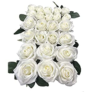 DALAMODA Artificial Silk Flowers Rose Heads DIY for Wedding Bridesmaid Bridal Bouquets Bridegroom Groom Men's Boutonniere and Corsage,Shower Party Home Decorations 24pcs (Cream) 25
