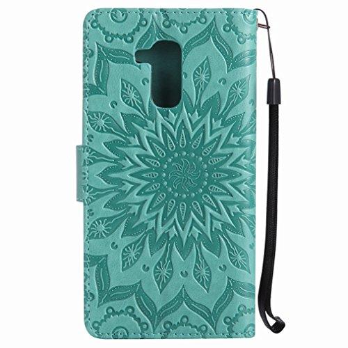 Yiizy Huawei Honor 5c Custodia Cover, Sole Petali Design Sottile Flip Portafoglio PU Pelle Cuoio Copertura Shell Case Slot Schede Cavalletto Stile Libro Bumper Protettivo Borsa (Verde)