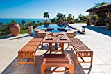 Malibu V189SET12 Eco-Friendly 5 Piece Wood Outdoor Dining Set with Curvy Table and Backless Benches
